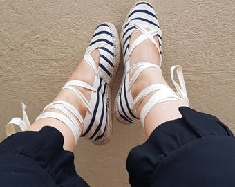 Lace up Flat espadrilles - STRIPED BALLERINA - mumishoes - made in spain
