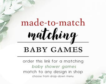Made-To-Match BABY SHOWER GAMES // Match to any design in shop // Sample  Wording