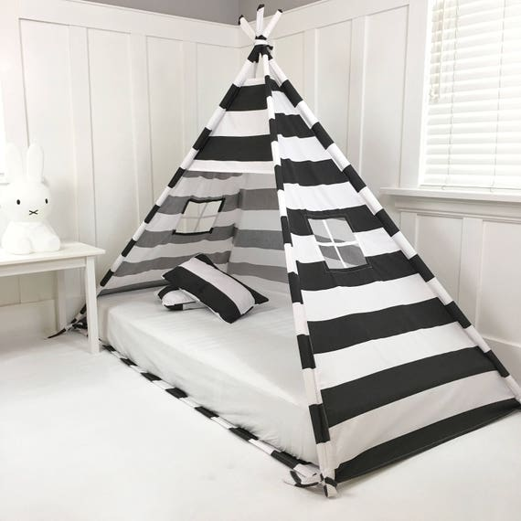 Play Tent Canopy Bed in Black and White Stripe