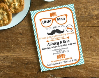 Teal Orange Mustache Little Man Baby Shower  Invite,  Invitation with Mustache, Hipster Vintage Invite, Retro Baby Shower, Digital File