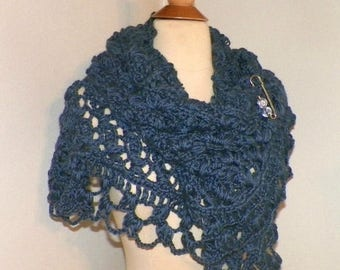 On Sale- Blue Shawl Triangle Scarf Crochet Oversized Boho Festival Cowl Wrap Scarf Wrap With Brooch