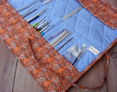 Crochet organizer Knitting needle bag roll gift for knitter holder crochet hook case Large cotton fabric roll up case