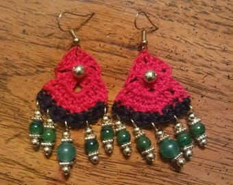 Crochet red, black & green earrings with gold accents by Ansley Jukeboxx Joye