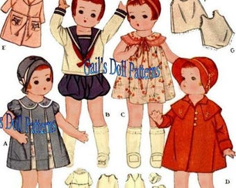 "Vintage 1934 Doll Clothes Pattern for  11-1/2"" Patsy Jr., Patsykins, and Shirley Temple"