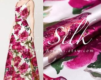 Fuchsia Silk Satin by the yard Pomegranate Fabric