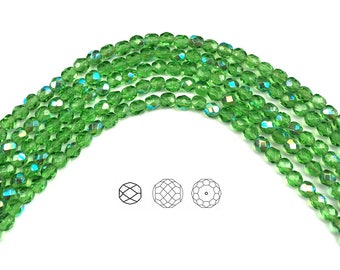 4mm (102pcs) Peridot AB coated, Czech Fire Polished Round Faceted Glass Beads, 16 inch strand