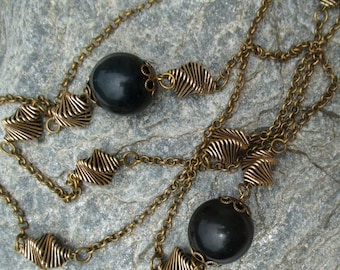 70s gold tone chain with bakelite beads and geometric elements - space age design