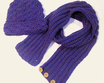 Purple Shell Crochet Hat & Rib Knit Button Scarf (#44)