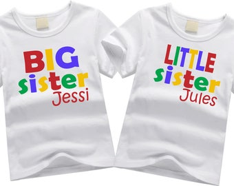 Personalized brother shirts. Sibling shirt set. Big sister, little sister. Custom sibling shirt SET OF 2.  Colorful block letters.