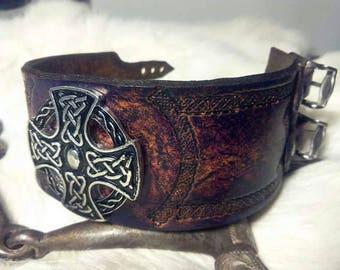 Celtic medieval style leather bracelet