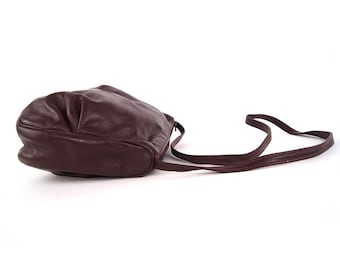 Vintage leather hobo bag in Burgundy | Red Wine boho slouchy purse, handbag | Gypsy bohemian shoulder bag