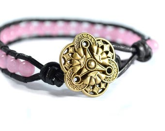 Pink Catseye Leather Wrap Bracelet with Metal Button Clasp - Pink Catseye Leather Wrap Bracelet - Leather Wrap Bracelet - Gift Ideas