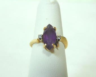 Womens Vintage Estate 14K Yellow Gold & Marquis Amethyst Ring 3.7g E2915
