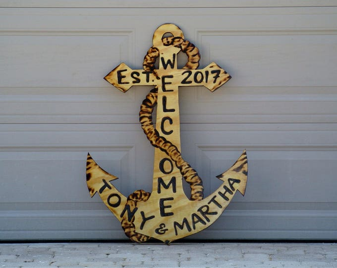 Welcome Family Anchor Wood Sign, Outdoor Natural Wooden Anchor Beach House Decor, New home gift, Custom family name sign.