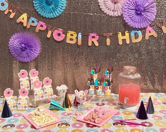 Donut Happy Birthday Banner/ Donuts theme party / Donut / donut party / donuts