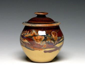 Small Memorial Urn, Hand Thrown Pet Urn, Lidded Jar, Pottery Sugar Bowl, Stoneware Storage Jar, Keepsake Urn