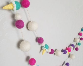 Birthday banner. Birthday garland. Ice cream cone. Party banner. Ice cream garland. Ice cream banner. Felt ice cream cone. 7ft.party garland