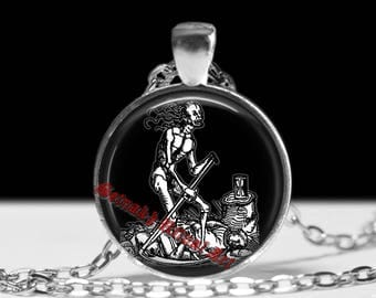 Skull necklace, Santa Muerte pendant, occult fashion, magic, scary horror, death in capture, mexican skull #294