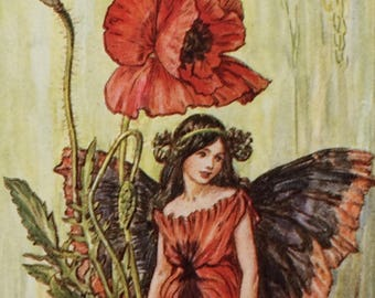 1940's Book Plate-Cicely Mary Barker-The Flower Fairies-Poppy-Fairyland-Matted-Ready to frame-Nursery-Home decor