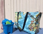 Large Weekend bag great gym bag world map oilcloth unique student tote travel bag reversible with zipped pocket extra large beach bag