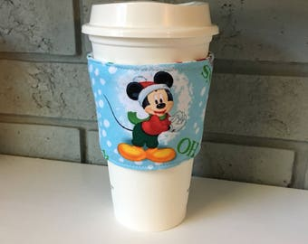 Coffee Cup Cozy, Cup Wrap, Coffee Cuff - Mickey and Donald - Christmas