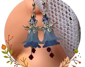 Blue flower earrings, Lucite flower earrings, Boho earrings