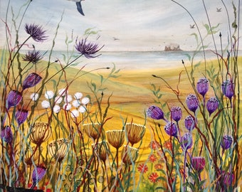 Summer View Down To The Sea. Puffin. Blackbird. Wildflowers