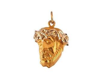 14K Gold Face of Jesus Necklace
