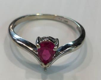 Estate 14k White Gold Chatham Pear Shape Ruby Diamond Ring Size 7.75