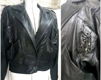 Vintage 80s Black Leather oversized Biker Jacket
