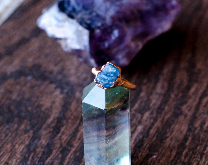 Blue Apatite and Copper Ring Size 3 1/4