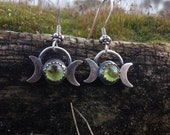 RESERVED for Paddy Triple Moon Peridot Earrings for abundance and personal power