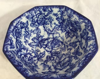 Antique Blue And White Losol Ware Large, Hexigon Bowl In The Cavindish Pattern