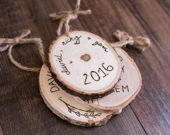 Tree Ornament personalized, Wood Slice Ornament, Rustic Tree Slice Ornament,Personalized Ornaments,Wood Burned Ornament