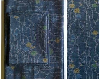 Vintage Tsumugi Silk Kimono Fabric Blue Vines Flowers