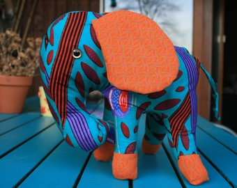plush elephant out of african fabrics- made to order
