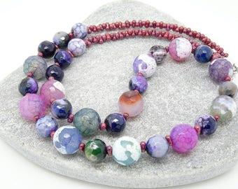 Fire Agate Necklace, Semi Precious Stone Necklace, Heather Necklace, Green Necklace, Blue Necklace, Lilac Necklace, Gemstone Necklace.