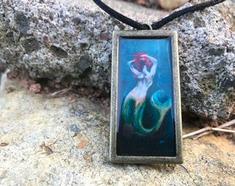 Mermaid Art Pendant Necklace // Resin filled Gold Tone Charm // Original Art by Tony Rector // Sensual Mermaid Wearable Art Jewelry