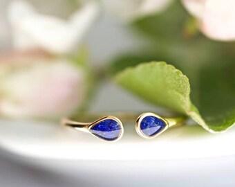 Gold Lapis Ring//Lapis Lazuli Ring//Navy Blue Lapiz Lazuli Ring//Minimalist Ring//Open Front Lapis Ring//Dainty Lapis Ring