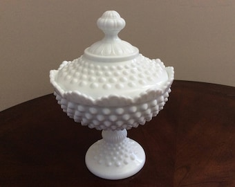 A Lovely Fenton Milk Glass Hobnail Pedestal Compote Dish.