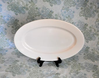 Vintage Buffalo China Platter with Tag Still On, 13.5 in. Pure White