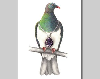 Wood Pigeon with Pendant
