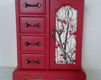 Jewellery box Jewellery storage Upcycled Red with decoupaged drawers