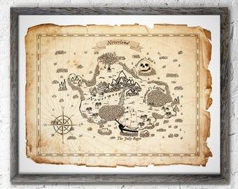 Neverland Peter Pan Map Wall Decor, Peter Pan Art Prints, Birthday Gift, Baby Gift, Neverland Art Prints, Peter Pan Wall Decor, Captain Hook