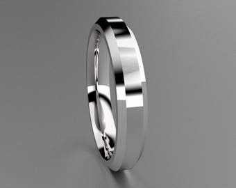 Silver 4mm Mens Wedding Band with Clean & Sharp Lines, Thin Beveled Edge Classic 925 Sterling Silver Wedding Ring, Thin Mens Wedding Ring