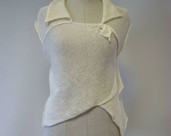 Special price. Feminine transparent off-white linen top, M size.
