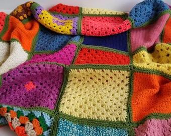 Vintage Granny Square Afghan Blanket Throw Rainbow Colors