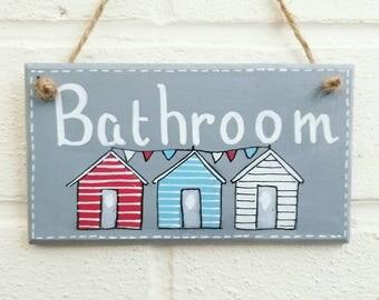 Bathroom sign beach decor bathroom decor beach huts wood sign wood plaque seaside decor home decor wall art Christmas gift