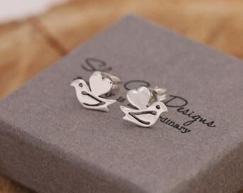 Sterling Silver Love Birds Stud Earrings, Silver Bird Earrings, Love Birds Earrings, Comes with Gift Box