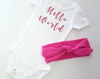 Hello World Newborn Shirt with Headband,Girl's Going Home Outfit,Newborn Headband,Pink Headband,Hello World Top,Baby Shower Gift,Pink Bow